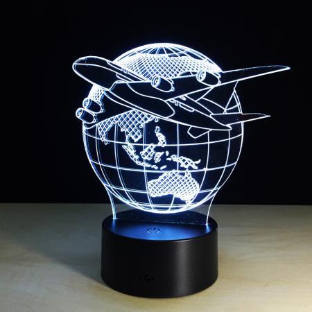 3D- Led Deko Lampe Weltkugel mit Flugzeug