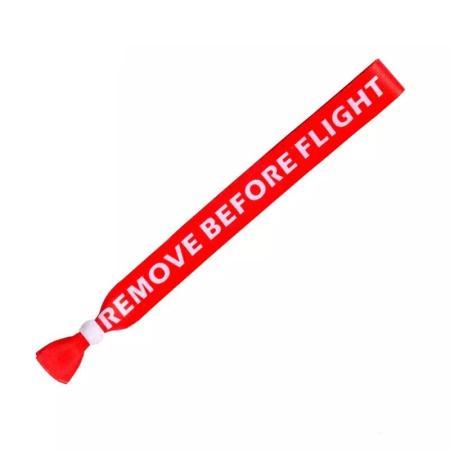 Einweg Handgelenk Festivalband REMOVE BEFORE FLIGHT rot