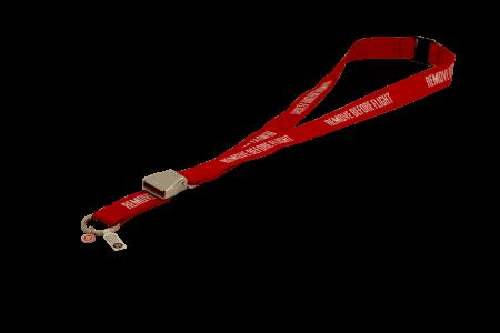 Lanyard REMOVE BEFORE FLIGHT mit mini Seat-Belt rot