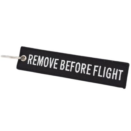Schlüsselanhänger REMOVE BEFORE FLIGHT schwarz