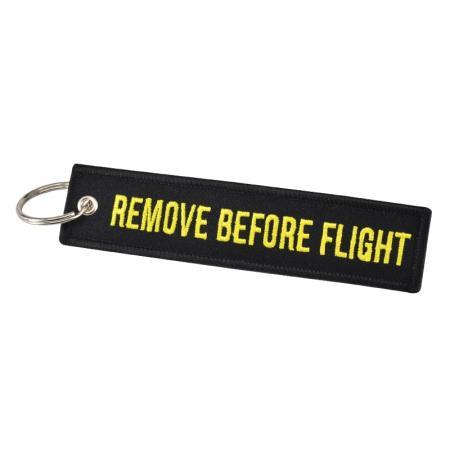Schlüsselanhänger REMOVE BEFORE FLIGHT schwarz Version 2