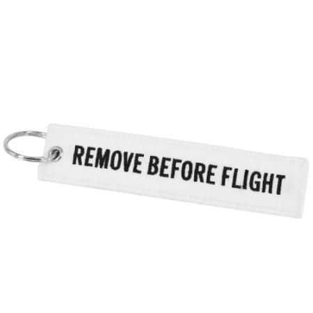Schlüsselanhänger REMOVE BEFORE FLIGHT weiss