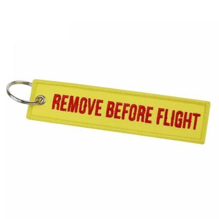 Schlüsselanhänger REMOVE BEFORE FLIGHT gelb Version 2