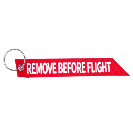 Schlüsselband REMOVE BEFORE FLIGHT aus Stoff rot
