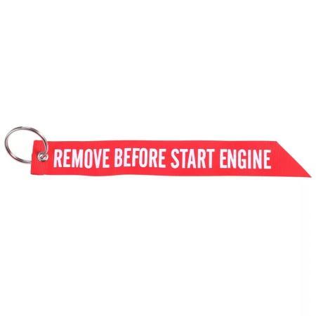 Schlüsselband REMOVE BEFORE START ENGINE aus Stoff rot