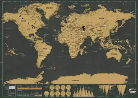 Scratch World Map schwarz (42 x 30 cm)